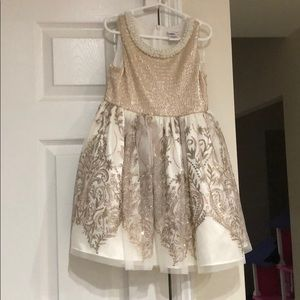 Beautiful gold cream in Rosegold girls dress
